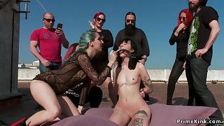 Squirter orgy shamed on roof top
