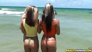 Hot tropical lesbians games on the beach in sunny day