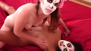 Mexican MILF and Lesbian Teen Share The BBC with Our Lady of Holy Death