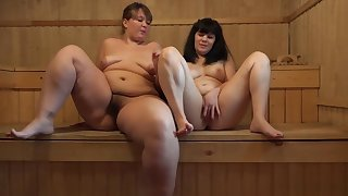 Young bbw with hairy pussies in the sauna masturbate