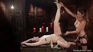 Tied in the air on knees slave breech whipped lezdom