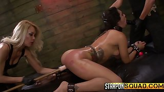 Two complete whores punish tied up bitch Ava Kelly in the BDSM locality