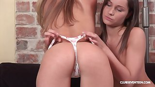 Lesbians Peggy D added to Ashley G use a dildo for the conquer cum ever