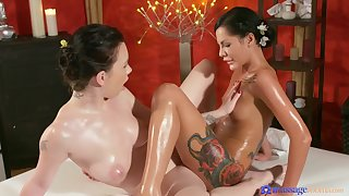 Lesbians Amanda Black together with Daphne Angel make love at make an issue of spa