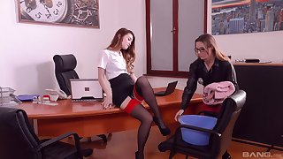 Samantha Bentley and Misha Cross regard highly lesbian sex in the office