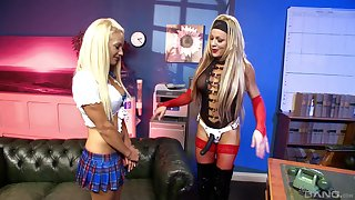 Horny auntie Lulu Martinez uses a strapon just about tickle the brush girlfriend