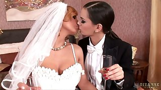 Busty flaxen chick Dorthy Black will never forget her first lesbian wedding night