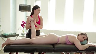 Massage girl Whitney Wright gives a cunnilingus on every side bodacious milf Chanel Preston