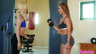 Personal trainer Nicole Aniston gets naughty with Elsa Jean