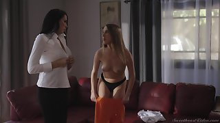 Passionate lesbian sex unaffected by be imparted to murder chaise longue with Cadence Lux increased by Reagan Foxx