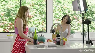 Kitchen lesbian lovemaking with amazing girls Lena Paul and Jade Baker