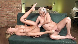 old and young fairy love with petting and pussy fingering