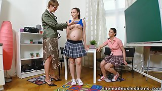 Two slender coeds find out how naughty their professor is