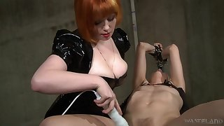 Hot mistress uses her breast to win herself slaves and she loves electro play