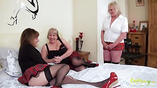 Threesome libidinous party with three be in charge british lesbian matures together with sex toys