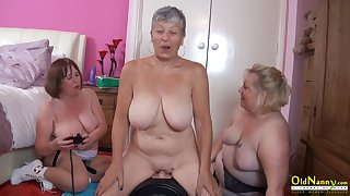 OldNannY Busty British Mature Lesbian Self-abuse